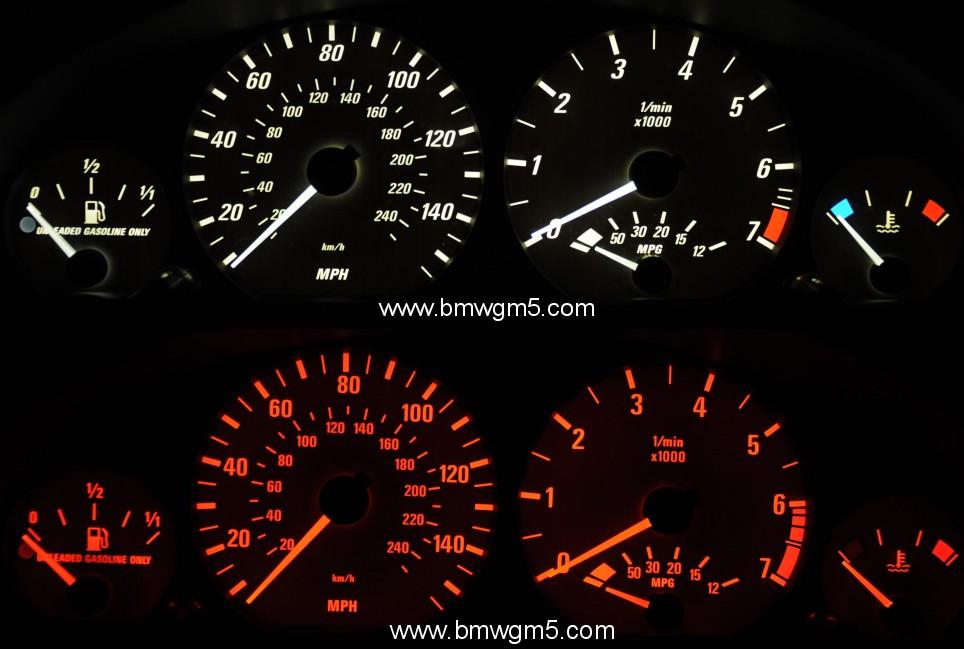 BMW E White Or Blue Backlit Instrument Cluster - Bmw e46 dashboard signs